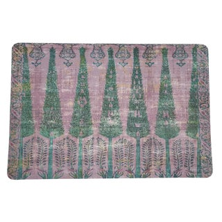 Nicolette Mayer Topkapi Garden Green Pink Rectangle Pebble Placemats, Set of 4 For Sale