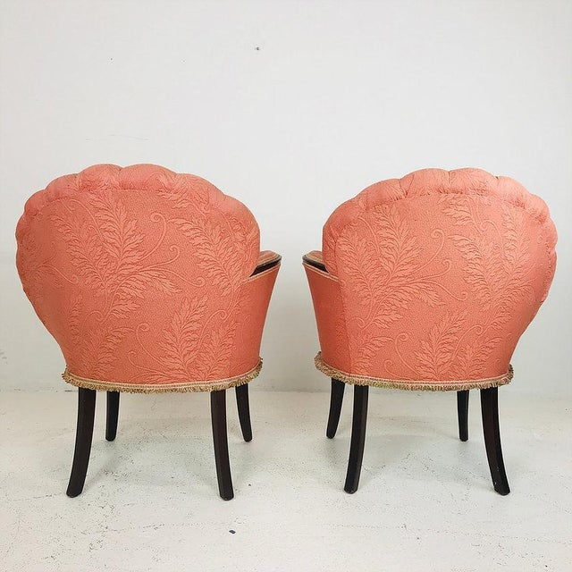 Mid-Century Modern Pair of 40's Deco Opposing Channel Back Chairs For Sale - Image 3 of 10
