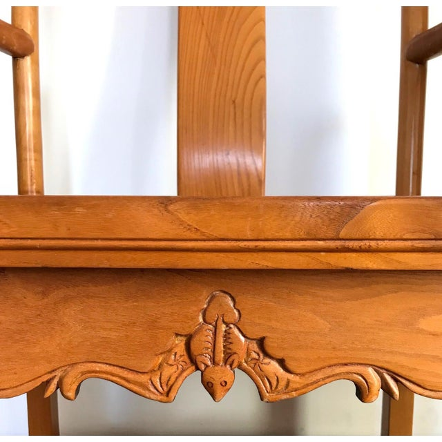 High Back Antique Chinese Officials 'Bat Wing' Chairs - a Pair For Sale In Tampa - Image 6 of 8