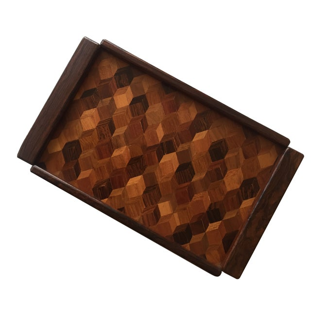 Boho Chic Don Shoemaker Cocobolo Op Art Tray For Sale - Image 3 of 8