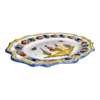 Large Quimper Platter Scalloped W/ Breton Figures Hand Painted Signed For Sale