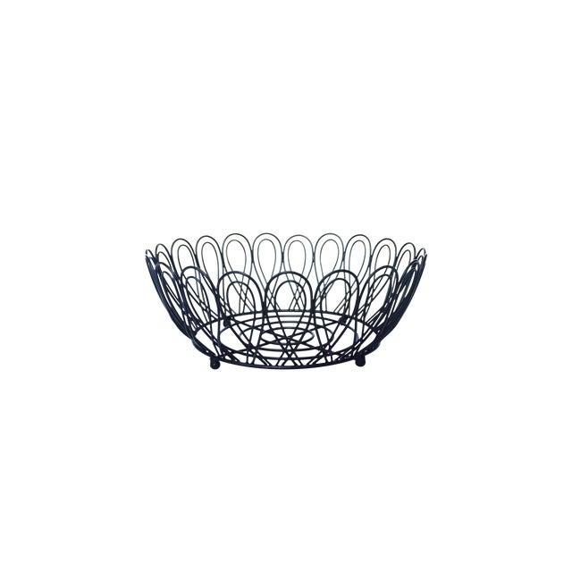 Mid-Century Black Metal Wire Fruit Basket - Image 1 of 3