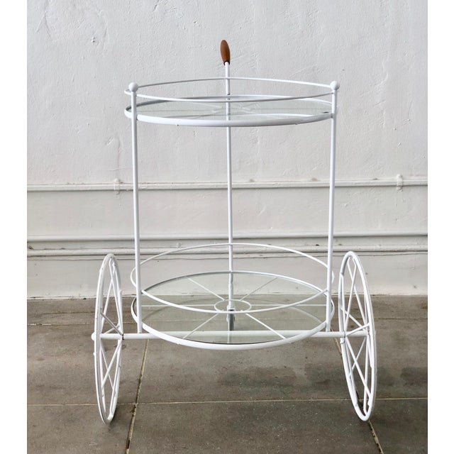 White Vintage Indoor Outdoor Patio Bar Cart with Wooden Handle For Sale - Image 9 of 13