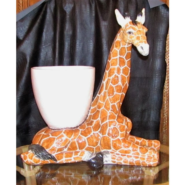 Ceramic Large Italian Ceramic Giraffe Statue Planter For Sale - Image 7 of 7