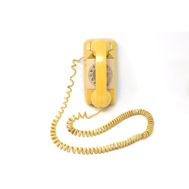 Vintage 1976 Starlite Yellow Rotary Wall Phone For Sale - Image 12 of 12