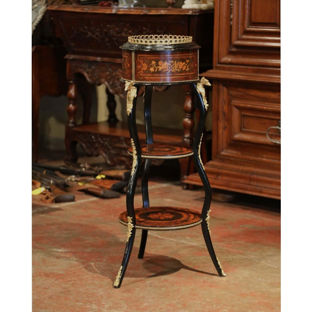 This antique plant stand was created in France, circa 1860. The round planter in the neoclassical style of Napoleon III,...