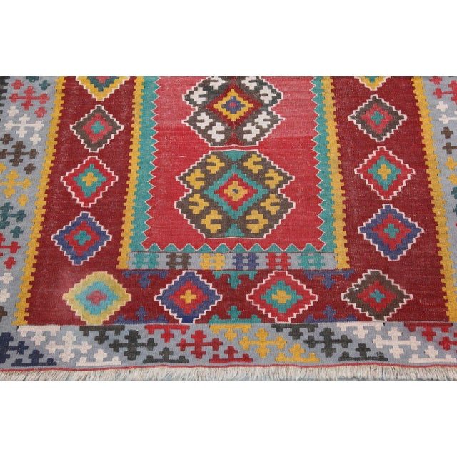Islamic Antique Turkish Wool Kilim Rug - 4′5″ × 6′3″ For Sale - Image 3 of 7