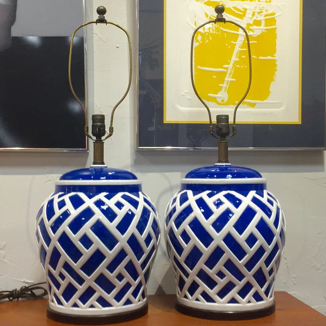These vintage Mid-Century Frederick Cooper lamps will give you that pop of color for any room! They are large and have a...