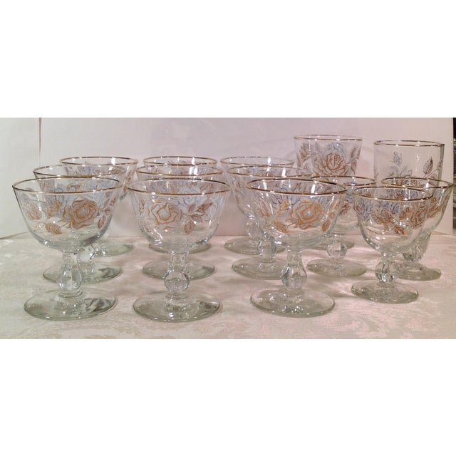 Mid-Century White Rose & Gold Glasses - Set of 14 - Image 2 of 7