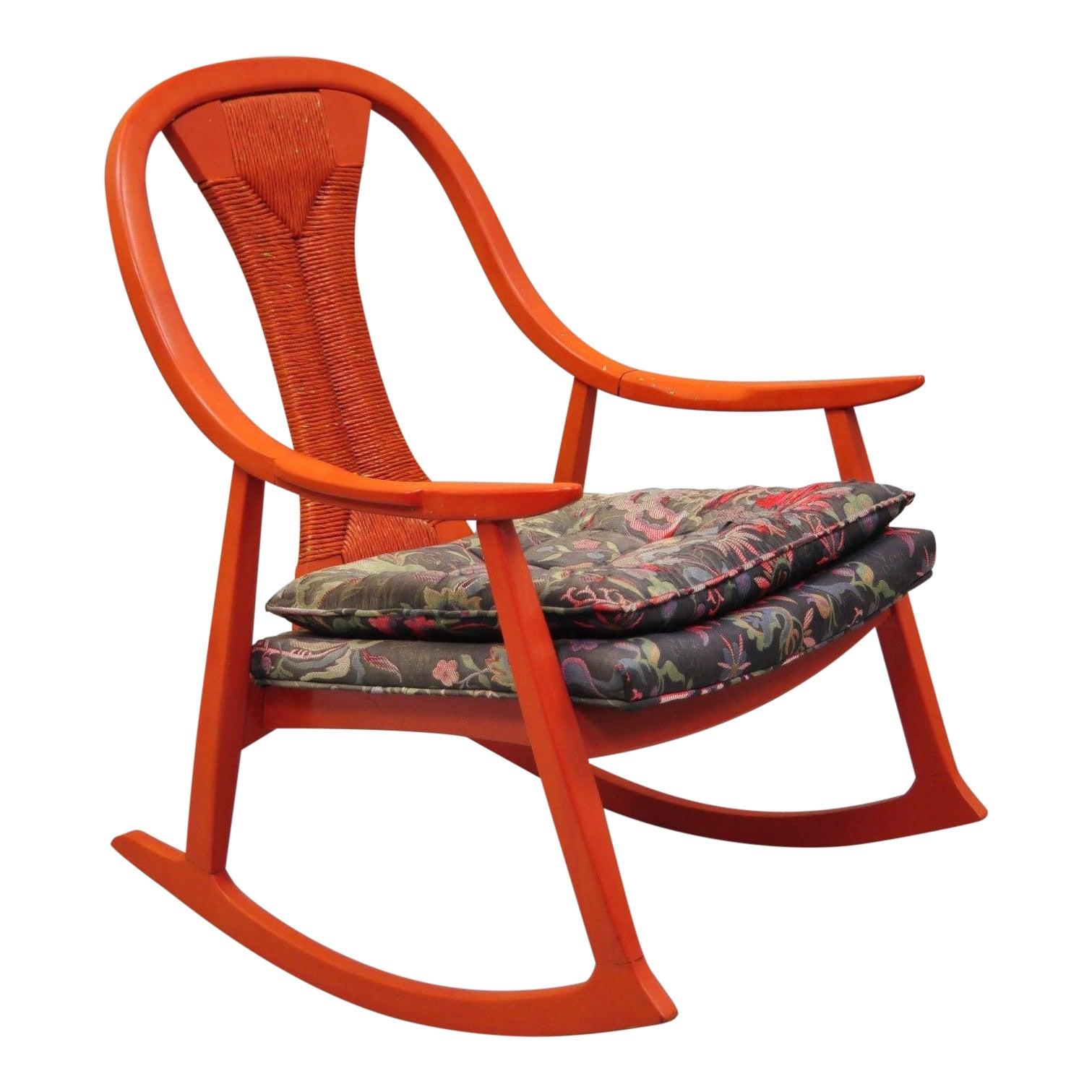 20th Century Danish Modern Red Wood Rattan Wicker Rocking Chair