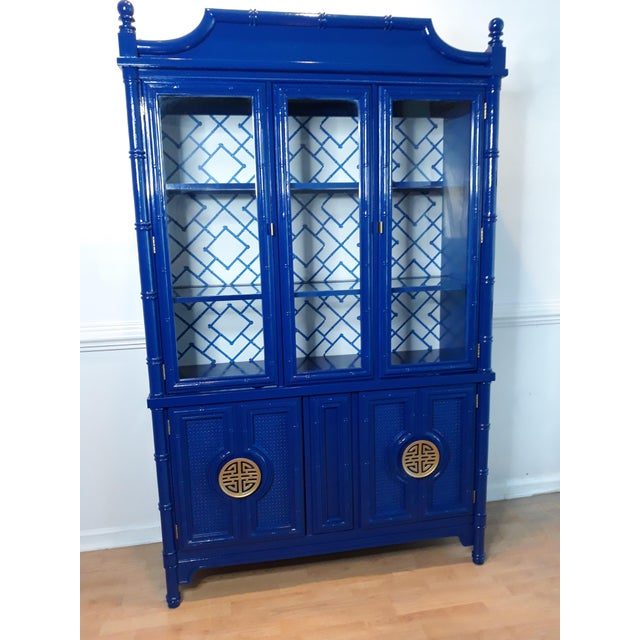 Faux Bamboo Navy Blue Lacquered China Cabinet For Sale - Image 6 of 13