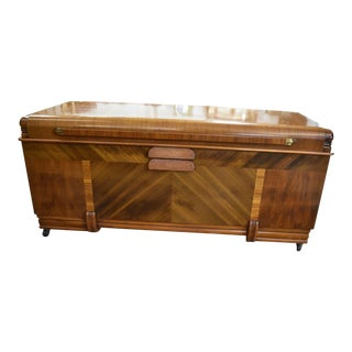 Antique Art Deco Waterfall Style Cedar Hope Blanket Chest by Cavalier For Sale