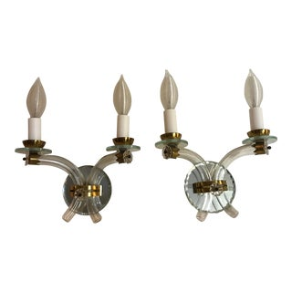 1940s Andre' Arbus Style Crystal & Mirror Wall Sconces - a Pair For Sale