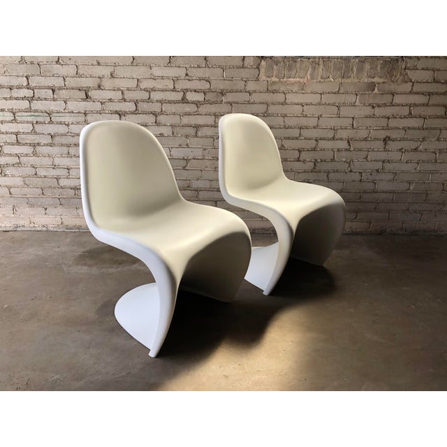 Modern Vitra Panton Matte White S Chairs - A Pair For Sale - Image 13 of 13