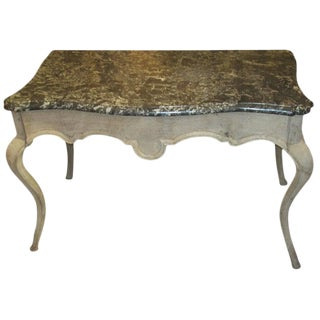 Louis XV-Style Marble-Top Painted Table on Sabre Legs For Sale