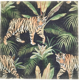"Hand Painted French Panel ""Tiger Jungle"""