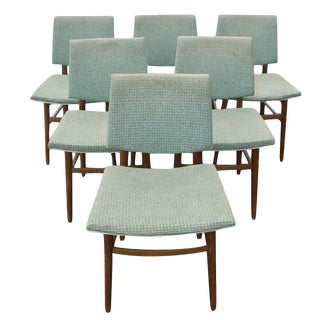 Six Vintage Scandinavian Dining Side Chairs Set For Sale