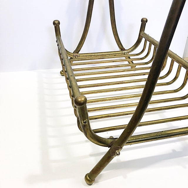 Vintage Brass Magazine Rack For Sale - Image 6 of 8