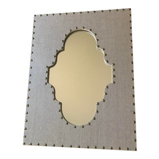 Hollywood Regency Jamie Young Classic Studded Linen Arabesque Mirror For Sale