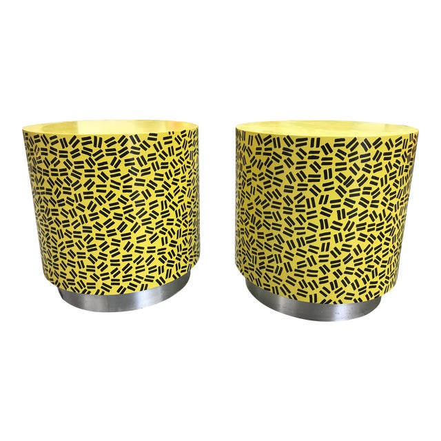 Pop Art Post Modern Cylinder Side Tables -A Pair For Sale