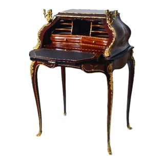 Fine Louis XV Style Gilt Bronze Mounted Inlaid Marquetry Secretary Desk For Sale