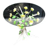 Image of 1960s Italian Tole Metal Flower Glass-Top Side Table For Sale