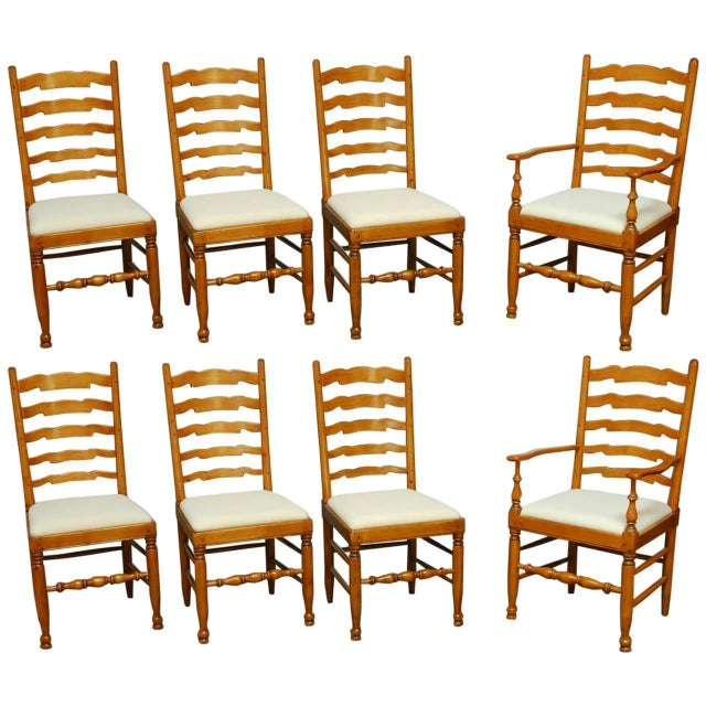 English Ladder Back Dining Chairs - Set of 8 - Image 1 of 10