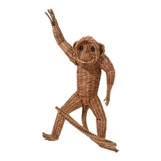 Mario Lopez Torres Style Vintage Large Wicker Monkey For Sale