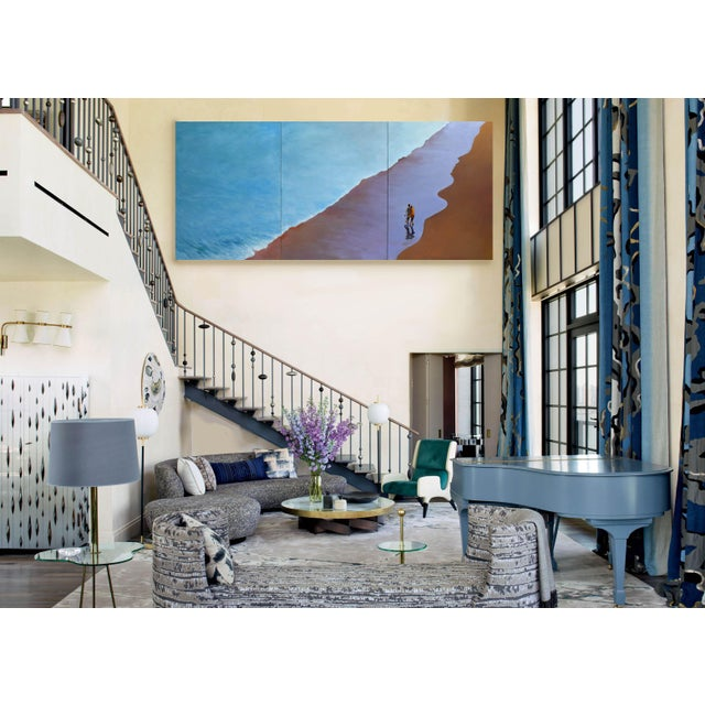"""Blue """"Summer Wave"""" Large Geoff Greene Painting in 3 Sections (Ready for Display) For Sale - Image 8 of 10"""