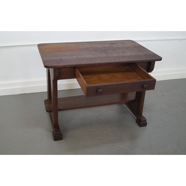 Antique Mission Oak Library Table - Image 5 of 10