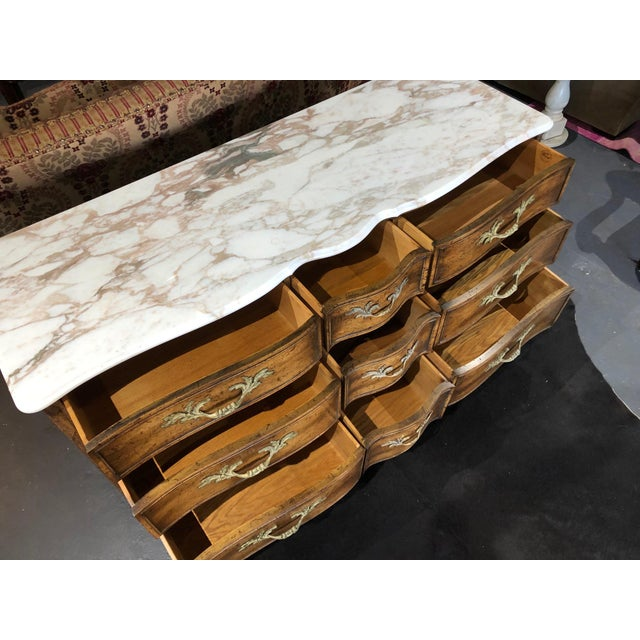 Brown 1960s French Provincial 9-Drawer Marble Top Dresser For Sale - Image 8 of 13