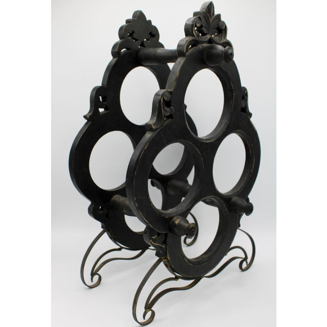Art Nouveau 1960s Vintage French Black Oak Wine Rack For Sale - Image 3 of 7