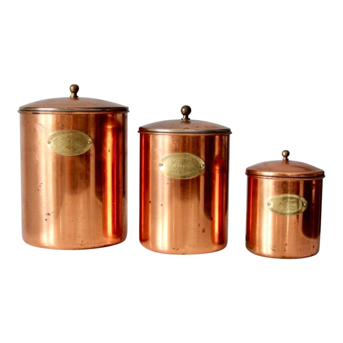 Vintage Copper Kitchen Canisters Set of 3