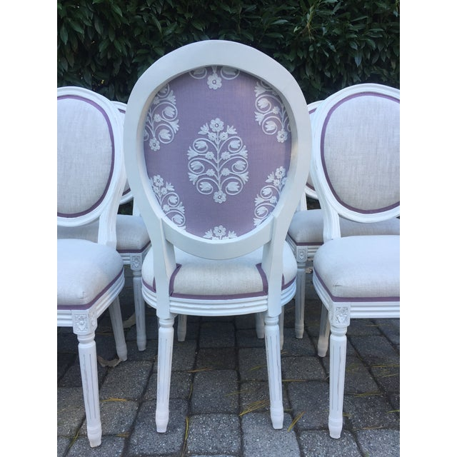 Restoration Hardware Modern Custom-Upholstered Louis-Style Round Dining Side Chairs- Set of 8 For Sale - Image 4 of 11