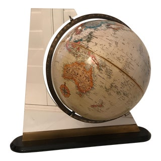 1970's World Globe With Acrylic Stand For Sale