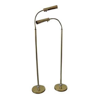 1960s Mid Century Brass Floor Reading Lamps - a Pair For Sale