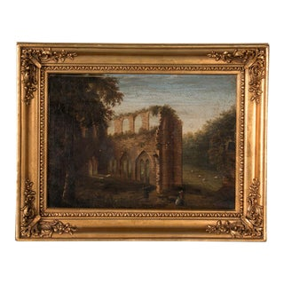 Antique 19th Century Original English Landscape of Abbey Ruins Oil Painting For Sale