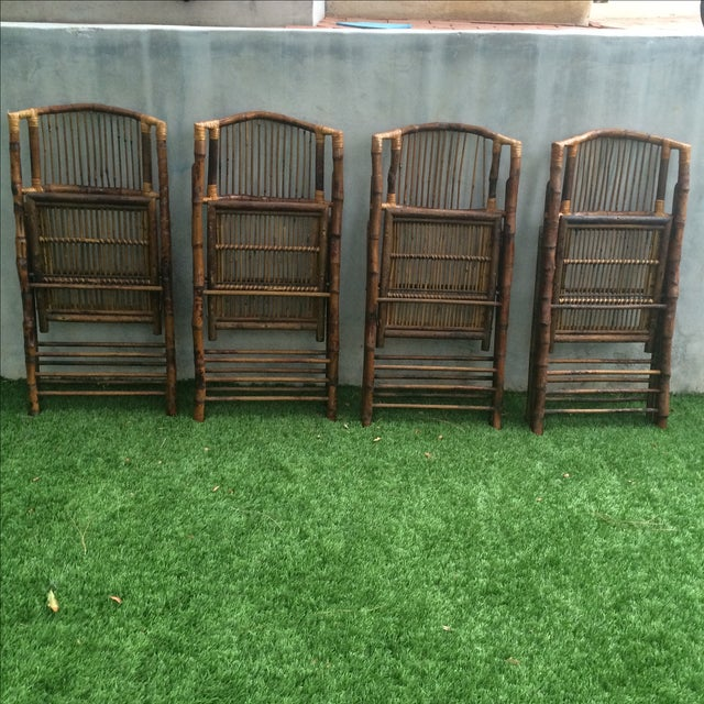 Bamboo Folding Chairs - Set of 4 - Image 10 of 11