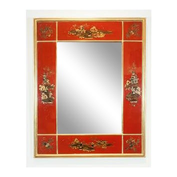 Maison Jansen Giltwood and Red Japanned Mirror For Sale