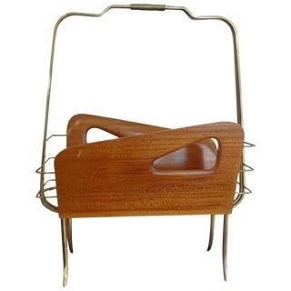 1950s Italian Gio Ponti Inspired Brass and Walnut Magazine Holder
