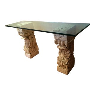 Old Stone Pillars Glass Top Console Table