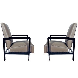 1930-1935 Pair of Art Deco Armchairs, Stained Wood and Leather, Spain For Sale