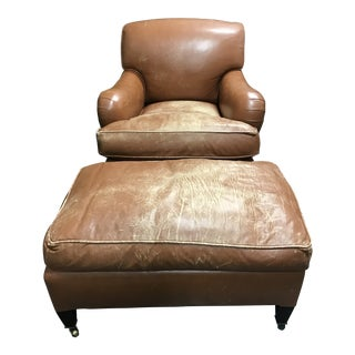 George Smith Club Chair & Matching Ottoman For Sale