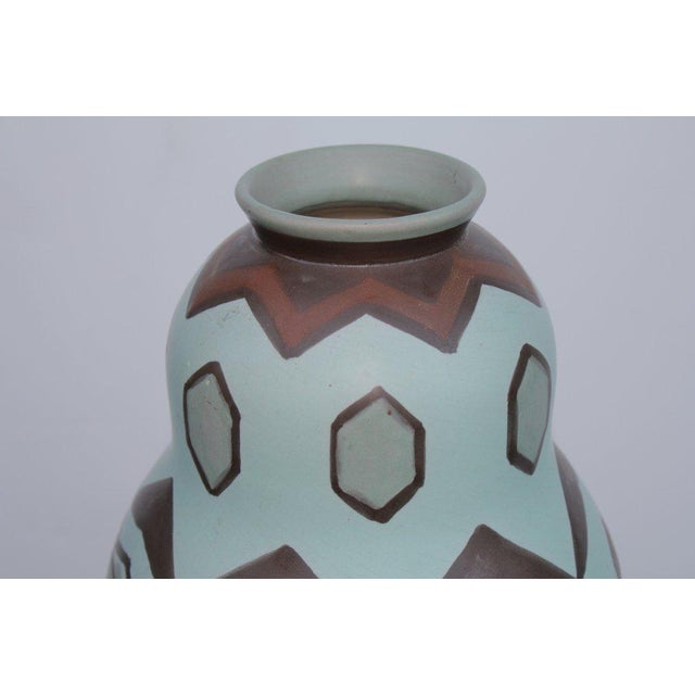 Villeroy and Boch Art Pottery Vase, Incised Marks Luxembourg, 298, V etc., Inked Mark 1550-. A nice example with a bird...