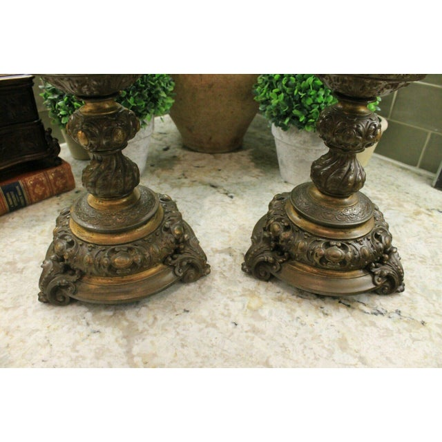 Renaissance Antique French Spelter Planters Urns Jardinieres Vases Renaissance - a Pair For Sale - Image 3 of 13