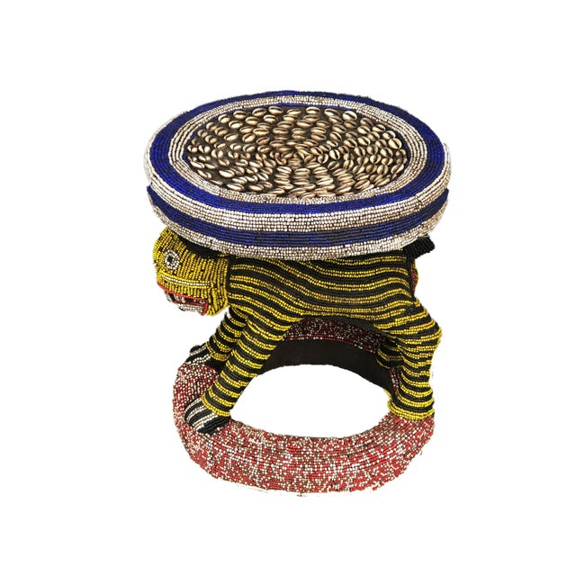 """Wood Lg African Beaded Wood Bamileke Stool /Table Cameroon 18.25'""""h For Sale - Image 7 of 9"""