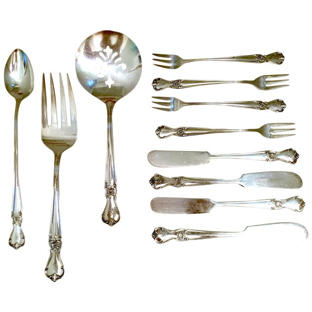 Engraved Serving Silverware - Set of 11 For Sale