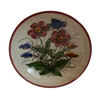 Vintage Graf Hand-Crafted German Crackle Art Pottery Bowl For Sale