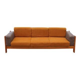 Vintage Mid Century Tobia Scarpa Style Teak Sofa For Sale