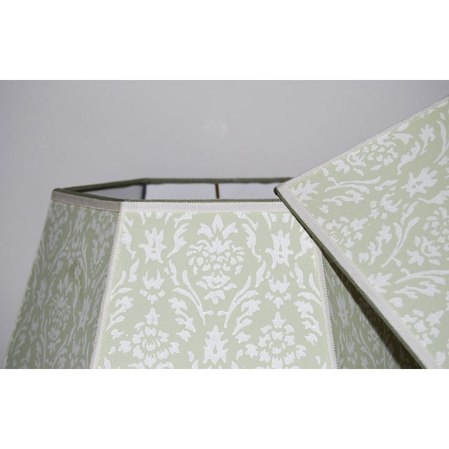Vintage Green Wallpaper Lampshades - A Pair - Image 3 of 4